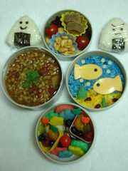 Bento #2: Underwater Bento (lilraindrops) Tags: food fish fruit cheese lunch soup rice onigiri bento lentils