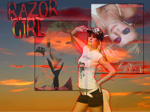 Razor Girl fan created wallpaper (red)