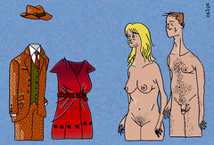 Casal (Rafael Cala) Tags: blue woman man sexy art hat naked nude penis tits dress nu mulher tie blond draw gravata homem waistcoat vestido terno middleage niples chapu artstico pelados nudez bigboobs colete meiaidade mamilos rafaelcala