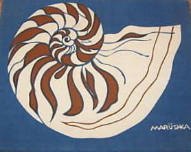 Marushka - brown and white spiral shell on blue
