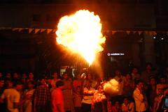 Fire breathing (Roshans Album) Tags: fire huli navaratri hulivesha pilivesha mangaloredasara2008 plilivesha mangalorekudroliprocession marnamivesha roshansphotos roshansalbum