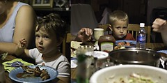 Suspicious Children (Geoff LMV) Tags: food dinner eating bodylanguage bbq meal ribs maxim dining angelina suspicion camerashy glaring lightroom pausing notjeff pentaxk10d smcpfa35mmf20al gmeyervanvoorthuijsen geoffreymeyervanvoorthuijsen geofflmv geoffreymeyer