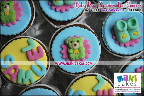 Baby Boy Cupcakes for Samuel_Bear_Shoes_Name - Maki Cakes