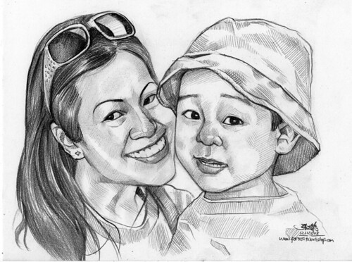 pencil portraits of mother and son 121108