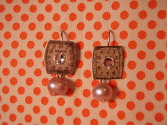 vintage watch face earrings by The Weekend Store
