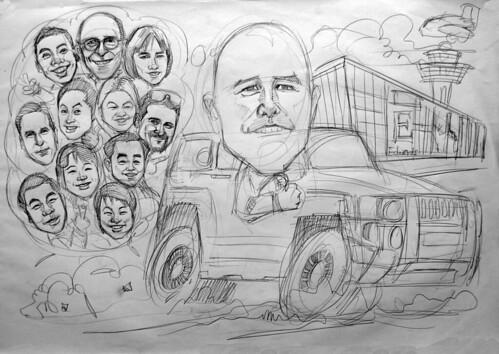 group caricatures for Edwards Lifesciences pencil sketch