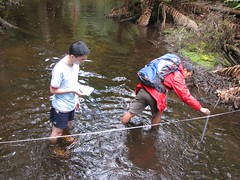 Measuring and recording river depth (epeirogenic) Tags: school water field speed creek work river flow nationalpark australia tasmania geography secondary fieldwork velocity measure depth studies physical mountfield kentridge