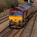 66207 negotiates the crossing to the Didcot West Curve with empty boxes (6C48 Appleford to Machen) 16 March 2009