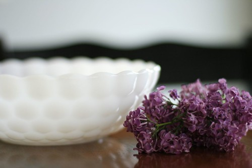 treasures: thrifted glass bowl & our first lilac blooms