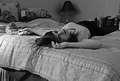 day one. (raychel sonveeco.) Tags: blackandwhite selfportrait girl cat bed teenager 365 nikond60