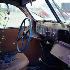 Touched by time (ted.kozak) Tags: light colour 120 6x6 film car mediumformat square interior leafs steeringwheel selfdeveloped c41 kozak bronicasqa tetenal zenzanonps80mmf28 tedkozak
