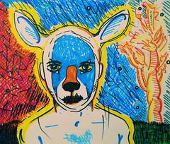 An Assessment At Dusk: 2011 (giveawayboy) Tags: new man art night pen dusk drawing spirit deer marker sharpie