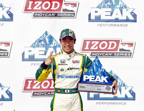 Takuma Sato celebrates his Peak Performance Pole award