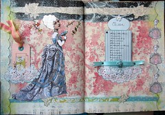 First Queen Spread in Round Robin (HollyLovesArt) Tags: pink art robin collage marie vintage paper french mixed media paint pastel tissue queen wig round antoinette powdered
