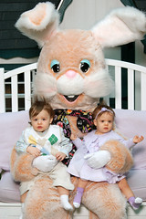Twins with the Easter Bunny