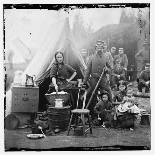 Washington, District of Columbia. Tent life of the 31st Penn. Inf. (later, 82d Penn. Inf.) at Queen's farm, vicinity of Fort Slocum. American Civil War