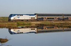 Amtrak Capitol Corridor #521 (sharkzan) Tags: favorite reflection watertower sanjose trains amtrak frame commuter passenger alviso genesis ge enlargement locomotives railroads digest capitolcorridor accepted railfanning p42 p42dc railpicturesnet amtk97