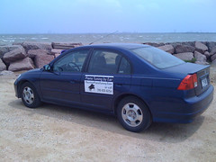My Car at the End of the Texas City Dike (flyinpianoman) Tags: city texas dike