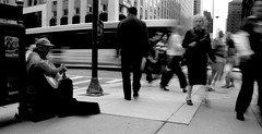 (Brian Hagy) Tags: street city urban blackandwhite bw musician chicago face guitar walk il submit beg streetshot gettingthere