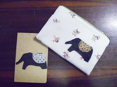 handmade pouch - elephant with moleskine notebook