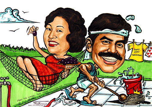 Couple caricatures Queen and Househusband