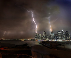 When Worlds Collide (Rick Elkins) Tags: newyorkcity newyork storm sorry skyline brooklyn night clouds skyscraper buildings reflections river lights harbor bravo waterfront searchthebest manhattan warehouse eastriver lightning statueofliberty statenislandferry themoulinrouge newyorkharbor firstquality flickrsbest superaplus aplusphoto infinestyle goldenphotographer diamondclassphotographer flickrdiamond megashot multimegashot rickelkins
