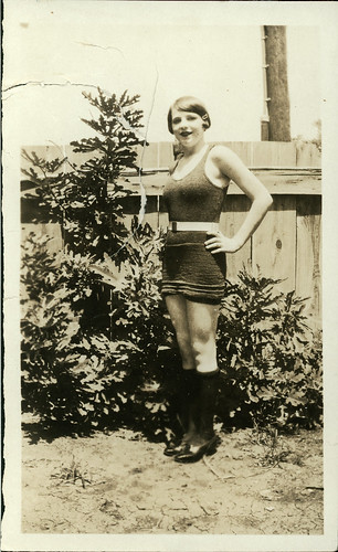 Girl in a knit sunsuit