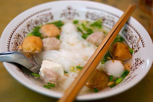 A bowl of kuaytiao khae, fishball noodles, Nang Loeng Market, Bangkok