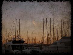 sunset at Cannes port (French Riviera) (fi0na) Tags: sea sky orange france texture port boats boat barca cotedazur mare colore yacht cannes barche ciel nave porto cielo navi colori francia mere sailingship arancione frenchriviera veliero costaazzurra velieri
