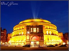 Blue Hour at the London Royal Albert Hall (david gutierrez [ www.davidgutierrez.co.uk ]) Tags: city uk greatbritain travel blue light england sky urban music color colour building london car bicycle yellow azul architecture night buildings dark spectacular geotagged photography