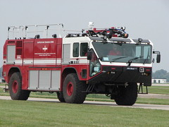 Oshkosh Striker Aviation Rescue Fire Fighter Vehicle (Observe The Banana) Tags: rescue wisconsin airplane fire aviation airshow 2008 eaa oshkosh airventure striker wittman 5988 arff