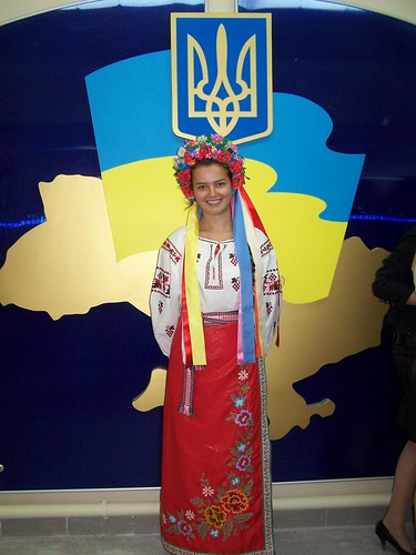 A girl in traditional  Ukrainian clothing