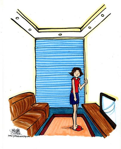 Cartoon illutration for flyer - roller blind