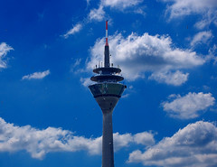 BIRDS (ZIOMAR) Tags: blue bird tower birds clouds germany tv nikon nuvole torre uccelli dusseldorf azzurro germania d40 hipbotunsquare