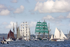 Falmouth Tall ships - Funchal 500 Parade of Sail (doublejeopardy) Tags: sea water canon 1 boat photo cornwall ship post sail tall falmouth comment invited squarerigger ef70200mml funchal500