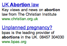 Abortion Search Ads on Google.co.uk