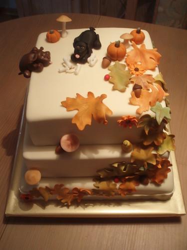 FALL-DOG BIRTHDAY CAKE