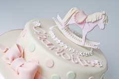 (Sweet Tiers) Tags: pink flowers horse cake polka sugar bow christening rocking dots