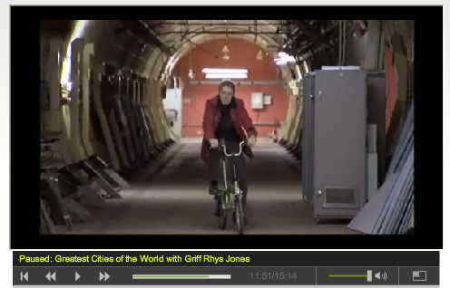 Griff Rhys Jones cycling through secret Tunnel - Screengrab