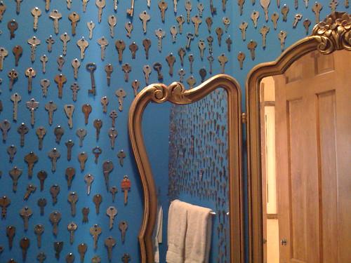 Bathroom Keys nailed to the Wall