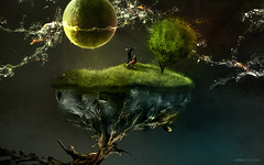 Mundo Surreal 2008 (RolanGonzalez) Tags: wallpaper fish green water space roots planet