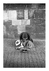Prague Beggar (stuwoodall) Tags: leica travel bridge november winter blackandwhite bw dog money streets cold hat stone contrast 35mm frozen blackwhite check warm europe december prague traditional trix bricks homeless poor january culture freezing bulldog symmetry beggar desperate cobble hoody blanket czechrepublic hood hp5 chilly february patch cobbles charlesbridge m2 summilux ilford elmar begging easterneurope tramp beg weak woodall begs sleepingrough id11 czeck iiif stuartwoodall