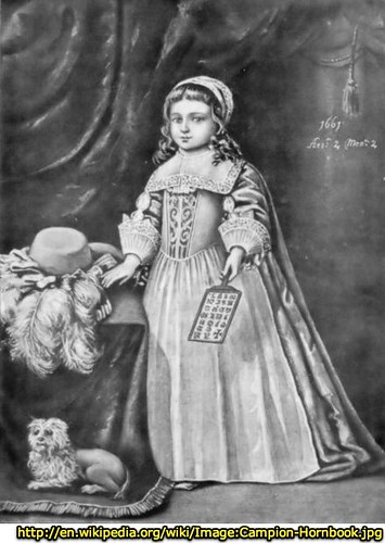 Miss Campion holding a hornbook, 1661. From Tuer's History of the Horn-Book.