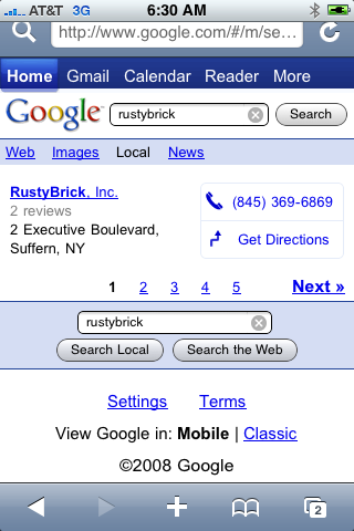 Google Search New for iPhone 2.x