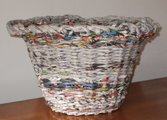 Newspaper Basket (Peggy Dembicer) Tags: sculpture paper creativity design diy recycled handmade assemblage mixedmedia creative craft vessel surfacedesign textile handcrafted create fiberart recycle fiber weaving doityourself craftsmanship textileart studioart dembicer connecticutartist peggycorallo