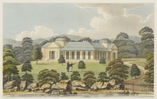 View of Captain Piper's naval villa at Eliza Point 1825 (Joseph Lycett)