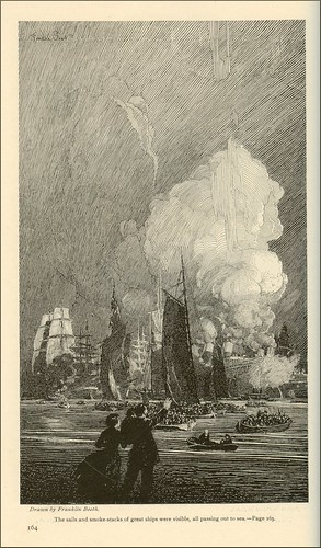 The sails and smoke-stacks of great ships