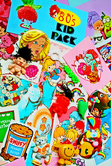 80's Kid Pack (2) (boopsie.daisy) Tags: color colors bowie kid rainbow strawberry colorful neon buttons stickers muppets n barbie mario pack pacman 80s valentines troll custard sniff rainbows badges eighties scratch et fragglerock popple brite erasers getalonggang boopsiedaisy shorrtcake