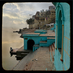 The Colour of Silence (designldg) Tags: blue sunset india man green heritage water colours turquoise varanasi ganga ganges ghats benaras uttarpradesh  indiasong articulateimages