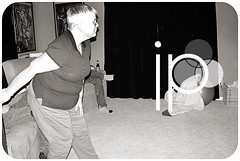 playing Wii bowling...my mom